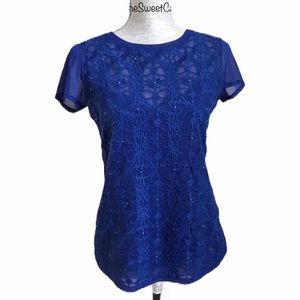 INC Silver Studded Floral Lace Overlay Top